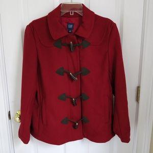Gap Wool/Nylon Toggle Closure - Red Zip Pea Coat